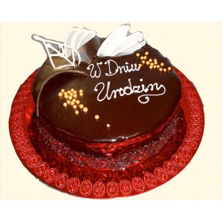 Tort oblany czekoladą z dekoracją czekoladową