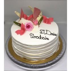 Tort okrągły urodzinowy różowy